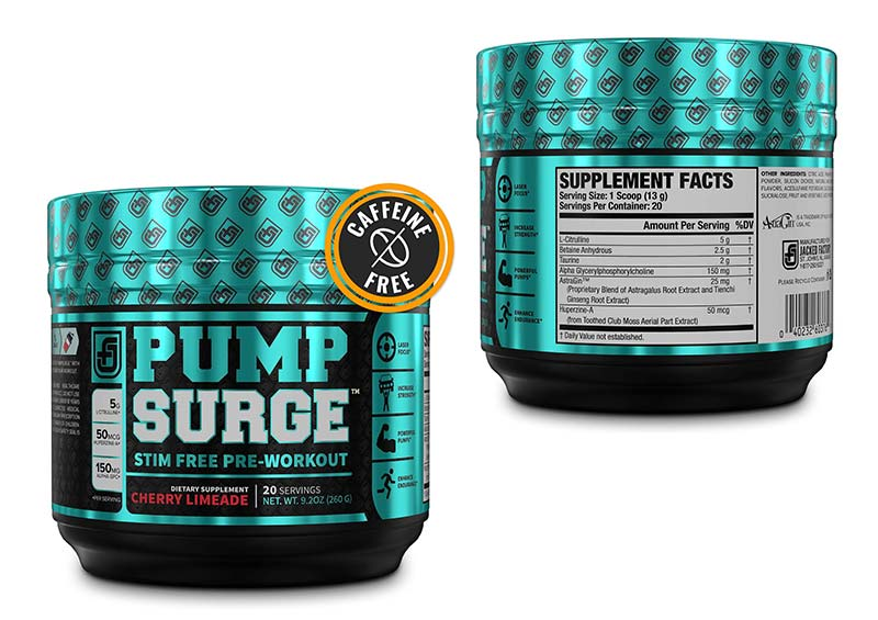 PUMPSURGE Caffeine-Free Pump & Nootropic Pre Workout Supplement