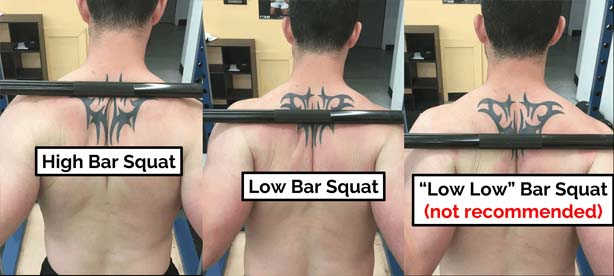 bar positions on back in different squats